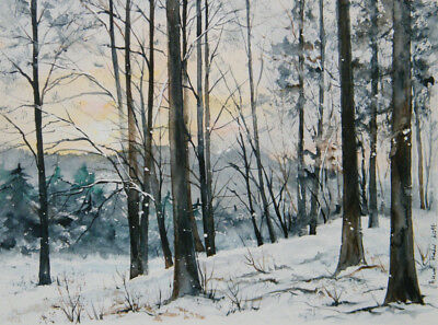 Aquarellbild Original 24x32 cm, Landschaft, Winter