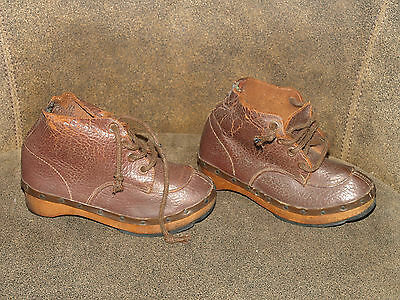 Vintage Childs Shoes Clogs Leather Wooden Clog Shoes Collector Shoes