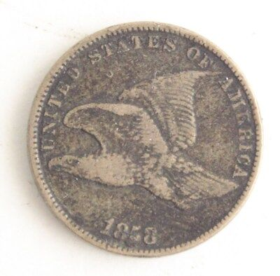 1858 Early Copper Flying Eagle One Cent Penny US Coin Currency Circulated Fine
