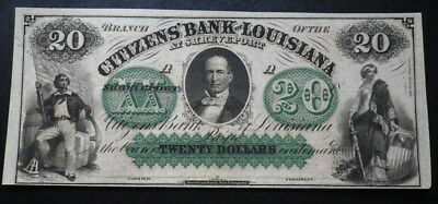 * United States Citizens Bank of Louisiana $20 Dollar Banknote. Unissued