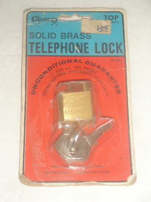 Vintage Phone Telephone Lock Nos Solid Brass Guard Rotary Dial Phone Lock New