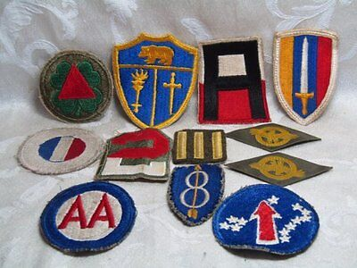 WWII 8th Infantry Division, Pacific, AA, Military Command Patches Lot Of 12