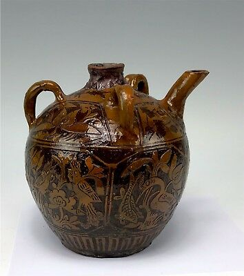 Antique Chinese Hand Thrown, Decorated Terra Cotta Pottery 3-Handled Teapot Sgnd