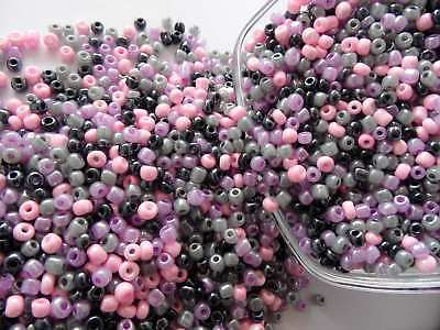 500 PERLES DE ROCAILLE VIOLET ROSE GRIS NOIR - Ø 4 mm 6/0 - CREATION