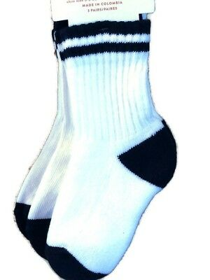 Toddler Boys Crew Socks White With Black Strips 12-24 months 3 pairs ~  New