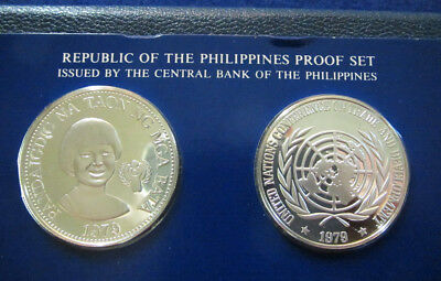 1979 Philippines Silver 25 & 50 Piso Gem Proof Coin Set - Free U S Shipping