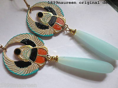 Egyptian Revival Art Deco earrings  long drop Art Nouveau 1920s vintage style