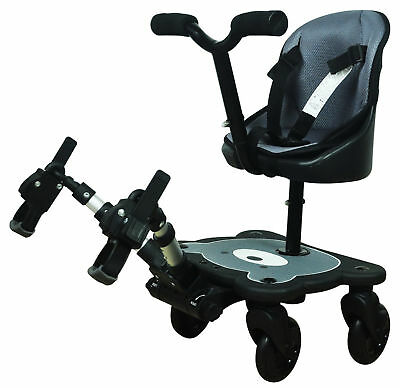 Englacha 2-in-1 Cozy 4-Wheel Rider Baby Stroller Board Seat, Black / Gray