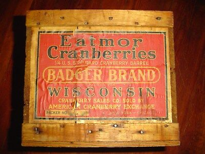 Vintage Eatmor Cranberries Wood Box Old Wooden Advertising Cranberry Crate