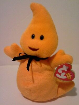 TY Beanie Baby Haunt Orange Ghost Stuffed Animal Toy with tags Halloween Plush