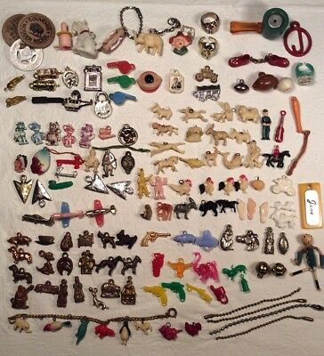 Vintage Lot Cracker Jack Prizes Gumball Premiums Celluloid Charms Elsie Indian