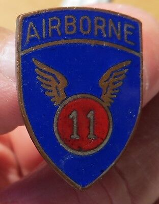 """Vintage WWII U.S. Army 11th Airborne Division """"Angels"""" Metal Insignia"""