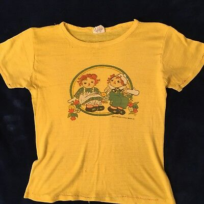 Vintage 1970s Raggedy Ann and Andy T-Shirt Size S, Cotton Blend Good Condition