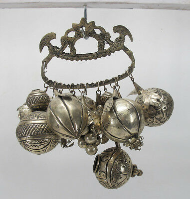 Silvered Brass Alloy Baby Rattle Fruit Bird Rajasthan Bells Pineapple Grapes yqz