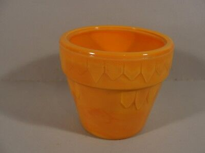 "2 3/4"" tall orange banded dart #300 glass flower pot by Akro Agate"