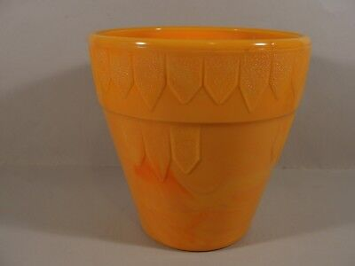 "5 1/4"" tall orange banded dart glass flower pot by Akro Agate #302"