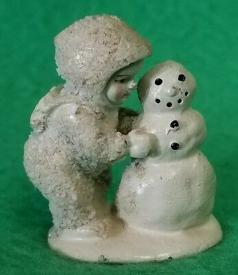 """D56 White Painted Pewter Snowbaby Snowman Building Figurine 1 1/2"""""""