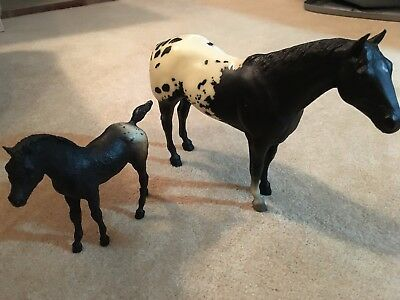 Set Vintage Breyer Horse Appaloosa Black and White Spotted Traditional with Colt