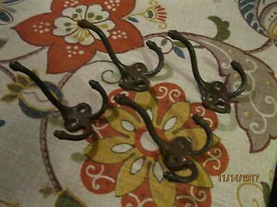 4 antique acorn triple coat hooks cast iron