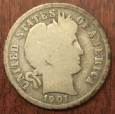 1901-S Barber Dime Nice Coin Free Shipping