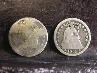 (2)Silver Half Dime Lot With(1)Capped Bust & (1) 1853 Seated Half Dime -ID# K555