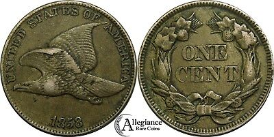 1858 1c Flying Eagle Cent EF+ XF high grade large letters rare old coin penny