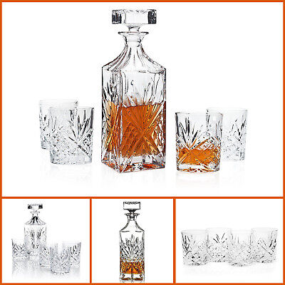 5pc Set Vintage Crystal Whiskey Decanter and Glasses for Bourbon Scotch Wine
