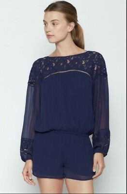 ~NWT~ JOIE BLUE SILK / LACE -Inset Short Jumpsuit  ~~sz XS~~