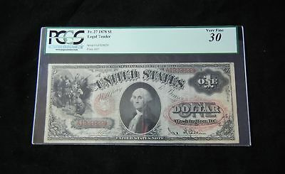 1878 Fr. 27 $1 PCGS 30 Very Fine United States Bill Legal Tender 24-12