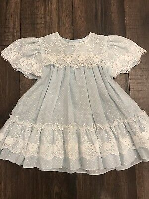 Vinatge Baby Girl Dress With Lace And Ruffles Size 12 Months