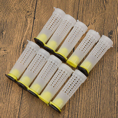 10 Pcs White Beekeeping Rearing Cups Jar Holder Case Queen Bee Cages Hollow Out