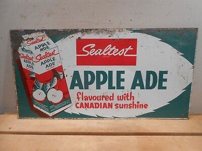 "Vintage Sealtest Apple Juice 23"" X 12"" Milk Ice Cream Dairy Tin Sign *no Reserve"
