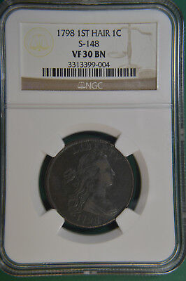 1798 Large Cent 1st Hair Style S-148 NGC VF30BN CC #10