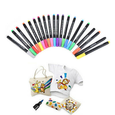 T-Shirt Permanent Fabric Paint Marker Pen Textile Clothes Shoes DIY 20 Colors WL