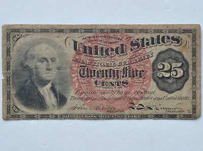 25C George Washington Fourth Issue Fractional Twenty Five Cent Note Currency