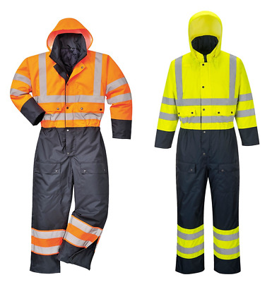 Portwest S485 Hi Vis Thermal Contrast Coverall Overall Boiler Suit Waterproof