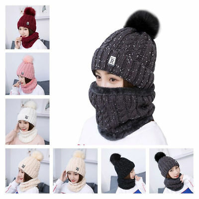 Scarf And Hat Cap Set Womens Warm Knitted Beanie Scarves Knit Skullcaps Winter ☆