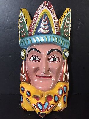 Ceremonial VTG Mexican Mask Hand Carved & Painted Face Man Crown folk art dance