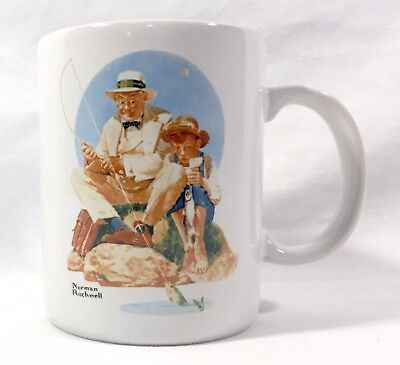 Catching The Big One Norman Rockwell Art Coffee Cup Mug 1987 Museum Collection