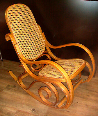 Vintage Thonet-style Bentwood Rocker, Light Wood, seat/back cushions. 1970s