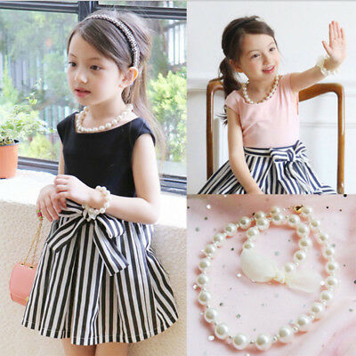 Girls Kids Charm Jewelry White Faux Pearl Necklace Bracelet Two Suits Set