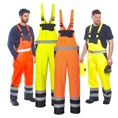 Portwest Hi Vis Contrast Bib and Brace Waterproof Workwear Trousers Dungarees