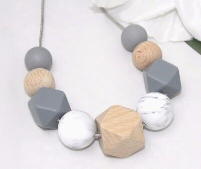 Necklace for mum (was teething) wood Grey Baby Tapuu Silicone jewellery