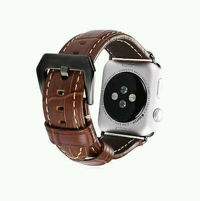 Brown Genuine Leather Watch Strap Replacement for Apple Watch 38MM