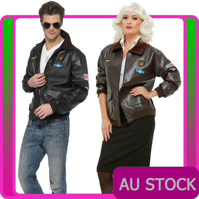 8e5119617 MENS AIR FORCE Bomber Jacket Costume Military Fighter Pilot Top Gun Party  Top