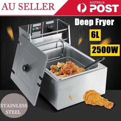 Electric Deep Fryer - 6L Commercial Fry Frying Chip Cooker Basket Home Brand New