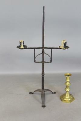 Very Rare 18Th C Wrought Iron Adjustable Double Candle Holder Lighting Standard
