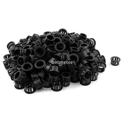 200 Pcs SB - 16 16mm Mounting Hole Wire Cable Protector Nylon Snap Bushing Black