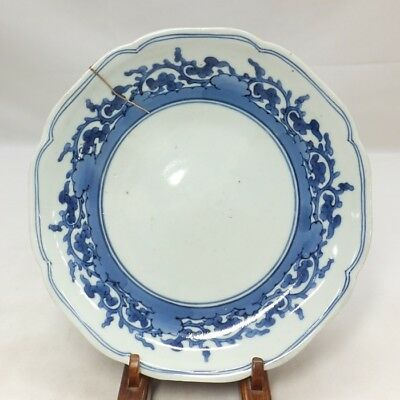 D004: Real Japanese OLD IMARI blue-and-white porcelain plate in 18c