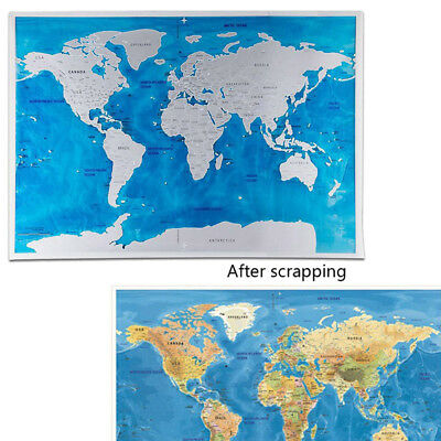 Blue ocean LARGE SCRATCH OFF WORLD MAP POSTER PERSONALISED TRAVEL GIFT 59*82cm